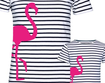 """T-shirt """"Flamingo"""" for mother and daughter, set price!"""