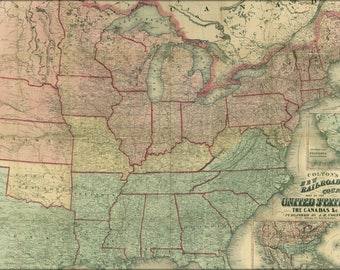 Poster, Many Sizes Available; Railroad Map Of United States Of America 1862