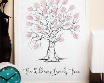 personalised family tree, family tree fingerprint, fingerprint tree, family tree, personalised family tree print, thumbprint tree art