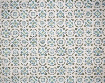 1940's Vintage Wallpaper - Green and Blue Geometric on White