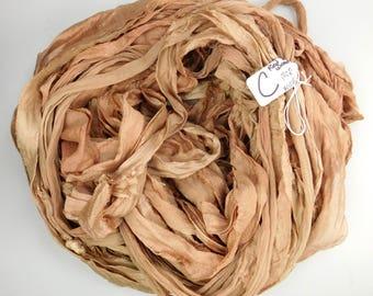 Sari silk ribbon, Silk Chiffon sari ribbon, Silk Sari Ribbon,  Redwood chiffon ribbon, weaving supply, crochet supply, wide sari ribbon
