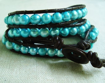 It's A Wrap - Brown Leather & Sky Blue Freshwater Pearls Wrap Bracelet with Bronze Metal Button Closure