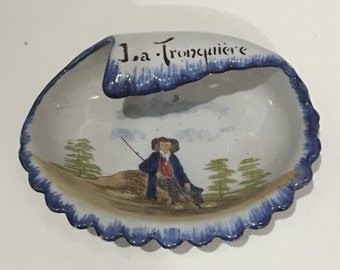 French Country Quimper, Quimper Style Nautical Seashell Shape Faience Pair