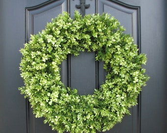 Boxwood, Boxwood Wreaths, Spring Boxwood Wreaths, Faux Boxwood Wreath, Outdoor Boxwood Wreaths, Spring Decor, Spring Door Wreaths