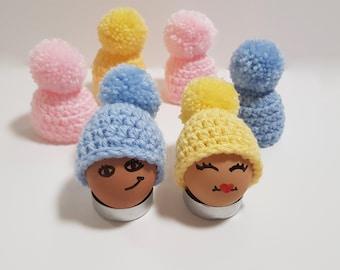 Egg cosy, crochet egg cozy, easter egg hats, egg hats, crochet egg covers, easter decorations, easter table decor, egg pom hat, easter gift