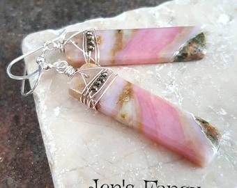Pink Opal Gemstone Long Slab Earrings, Sterling Silver, Wire Wrapped, Gemstone Jewelry, Boho Earring, Women's Gift Mom, Unique Bold Earrings
