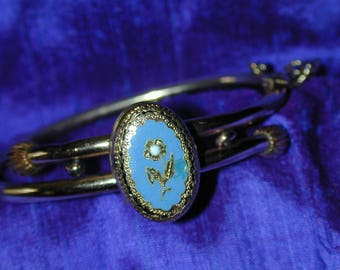 Vintage Victorian Turquoise enamel Gold Filled Locket Cuff Bracelet Forget Me Not Motif, Delicately Etched, Rare and Lovely!