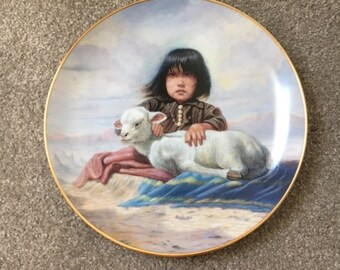 """Vintage Artaffects Children of the Prairie Plate """"Watching Waiting"""" by Gregory Perillo, Artist - Plate # D7608-Collectible Plates"""