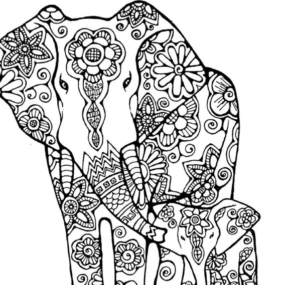 Items similar to Elephant Coloring Page to Print and Color, Nature ...