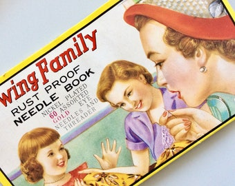 Vintage SEWING FAMILY Needle Case Book Travel Book . Needle Kit . Gold Eye Needles Retro Graphics . 1950s Advertising . Made in Japan . Mint