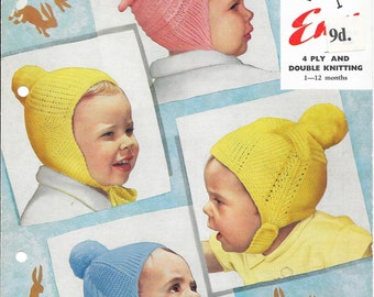 Baby Hat Pattern, Vintage Knit, 4 ply hat pattern, DK hat pattern, Child Hat Pattern, PDF Knitting Pattern, Instant Download Emu 8080