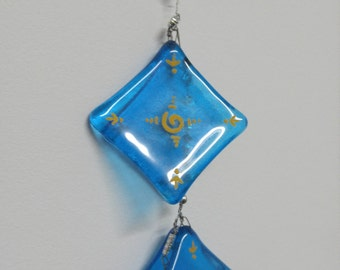 Christmas gift-Blue Mobile-Turquoise mobile-Hostess gift-Holiday gift-Giftforhome-Home decor-Rectangle mobile-Wall mobile-Suncatcher mobile
