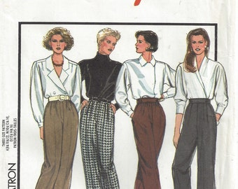 1980s High Waist Trousers Gathered or Pleated Front Side or Front Opening Cuffed Straight Leg Pants Style 1398 Misses Size 12 14 16