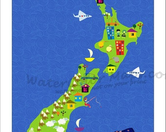 KIDS Maps, NEW ZEALAND Map for Kids, Childrens Maps, Map of New Zealand, Kids Wall Maps, Kids Room, Kids Decor, Boys Room, Girls Room