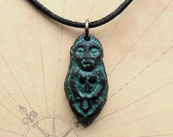 Sheela na gig Necklace - black with patina