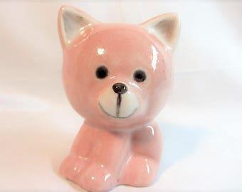 Pink Kitten Figurine, Cat r Kitten Pink Statue, Kitschy Kitten, Pink Cat Figurine, Vintage 50's Pink Porcelain Kitty, Cat Lovers Pink Kitten