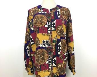 SASSON Silk Shirt Linnen Baroque Inspired Luxury Designer M
