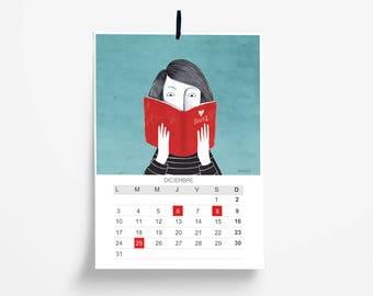 Monthly wall calendar 2018