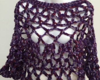 Lacy Poncho in Purple Variegated Yarn - Bulky Chunky Crochet - One Size fits Most