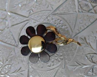 Brown & Gold Vintage Flower Brooch