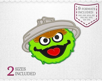 Oscar The Grouch Sesame Street Applique Machine Design - 2 Sizes - INSTANT DOWNLOAD - Applique, Embroidery, Designs