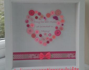 Button love heart gift box frame- Mum/Nanny