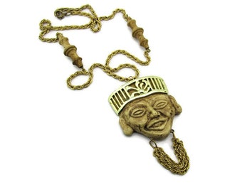 China Man Pendant Necklace/Asian Face Molded Lucite Pendant / Long Gold Tone Rope Chain/ Bamboo Style Beads / Faux Wood Carving Pendant