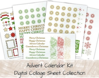 Advent Calendar Kit, Numbers 1-25 plus decorations digital collage sheets 0213