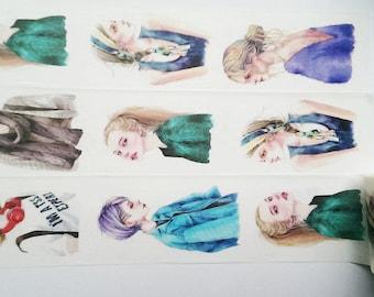 Design Washi tape girl modern hairstyles