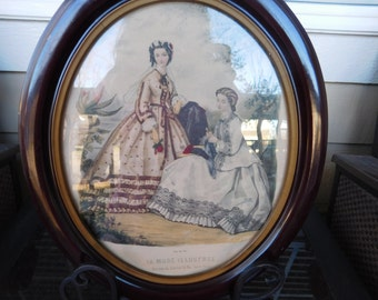 Pair of colored etchings - Framed - Appear to be Hand - Coloured