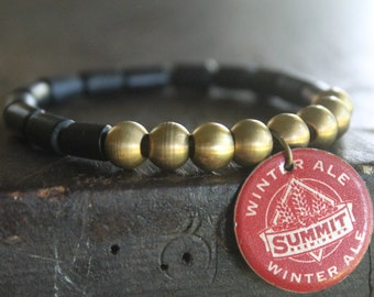 St. Paul Black Wood and Solid Brass Stretch Stacking Mala Bracelet with Real Beer Cap Pendant - Microbrew Love - Best Bar Tab EVER
