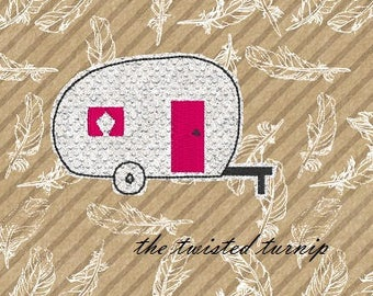 4x4 Hoop Cute 2 Inch Vintage Camper Glamper Travel Trailer Camping Feltie Felt Felty Embroidery Design Instant Download Digital File