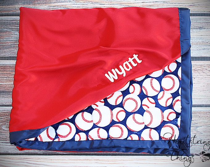 Minky Blanket, sports blanket, baseball blanket, red white and blue, baseball minky, silk blanket, satin blanket, embroidered blanket