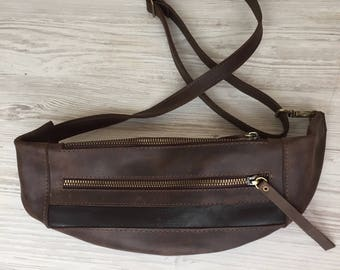 Leather Waist bag Leather Fanny Pack Utility bag Belt bag Brown fanny pack Waist purse Hip bag