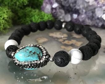 Lava stone Bracelet | Diffuser Bracelet | Essential Oil Beads | Stretch Bracelet | Turquoise Bracelet | Essential Oils Bracelet | Aroma