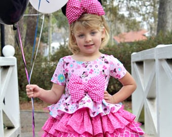 Minnie Mouse Girls Dress - inc Minnie Mouse Ears - Pink Minnie Mouse - Pink Dress - Toddler Girls Dresses - Minnie Mouse Party  6 mo - 8 yrs