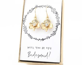 Gold Flower Earrings, Flower Earrings, Flower Girl Earrings, Flower Girl Gift, Bridesmaid Earrings, Gold Bridesmaid Gift, Gold Earrings