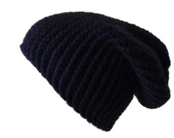 100% Merino Wool Chunky Knit Slouch Hat Charcoal Black Men Women SHANE Ready to Ship Winter Knit Accessory Boyfriend Gift Girlfriend