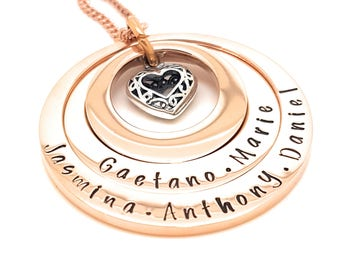 Rose Gold Layered Hand Stamped Family Names Pendant Tripple layered Silver Love Heart | best friend gifts | condolence gift | Hand Stamped