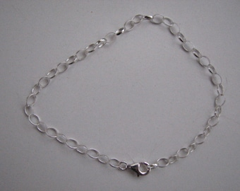 Sterling Silver Oval Rolo Bracelet 5mm by 4mm Links also for Charms