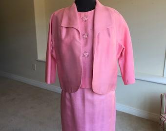 3 Piece Top Skirt Jacket Silk Pink Suit 1960