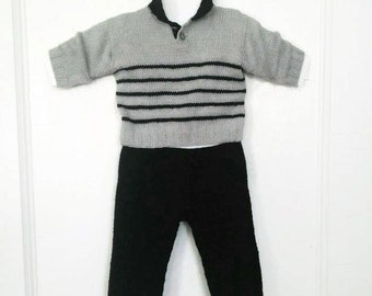 Hand Knit 30 Cashmere 70 EF Wool Pants and Polo Set - 9-12M Ready to Ship - Free Shipping in US