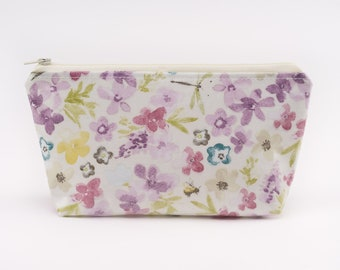 Lilac Cosmetics Purse, Oilcloth Make-Up Bag, Lined Zipper Pouch, Gifts for Women