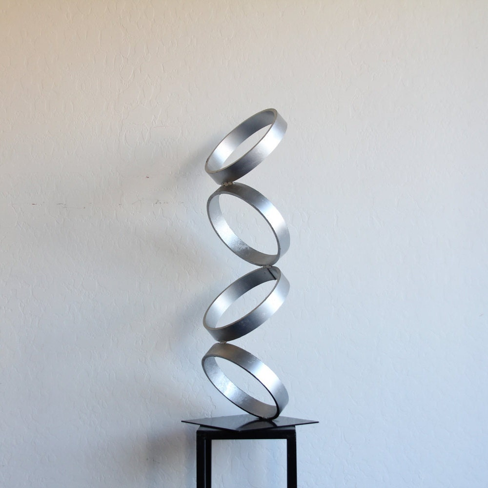 mid century modern metal sculpture art abstract simple - 🔎zoom