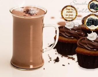Printable Photography Cupcake Toppers-PRINT142JPW-Instant digital download cupcake topper-photographer birthday-printable cupcake picks