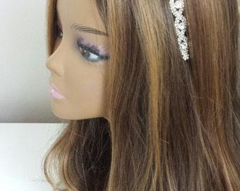 "Rhinestone Bridal Hair Accessory - ""DARICE"" -  On Satin Ribbon or Headband"