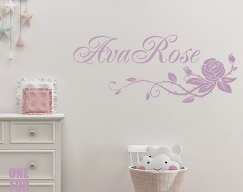 Name U0026 Rose Personalized Girl Wall Decals Custom Vinyl Sticker Childrenu0027s  Gift Teen Bedroom Decor Playroom