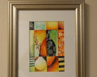 Handmade (not a print) Still Life Watercolor Painting