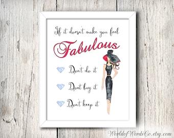 Feel Fabulous Art, Digital Print, Girls Printable Art, Reminder to Feel Fabulous, Printable Gift, Gift for Her, Don't Do It, World of Words