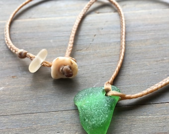 Emerald green seaglass mermaid friendly necklace
